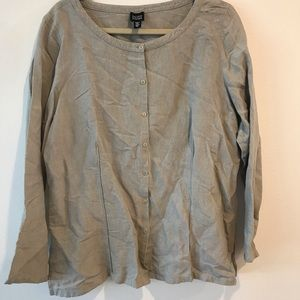 Eileen Fisher Taupe Linen Button Down Blouse XL
